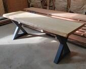 Live edged hard maple bench on metal legs