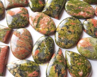 Wholesale Lot of Unakite Jasper  Cabochon By Weight With Different Shapes And Sizes Used For Jewelry Making