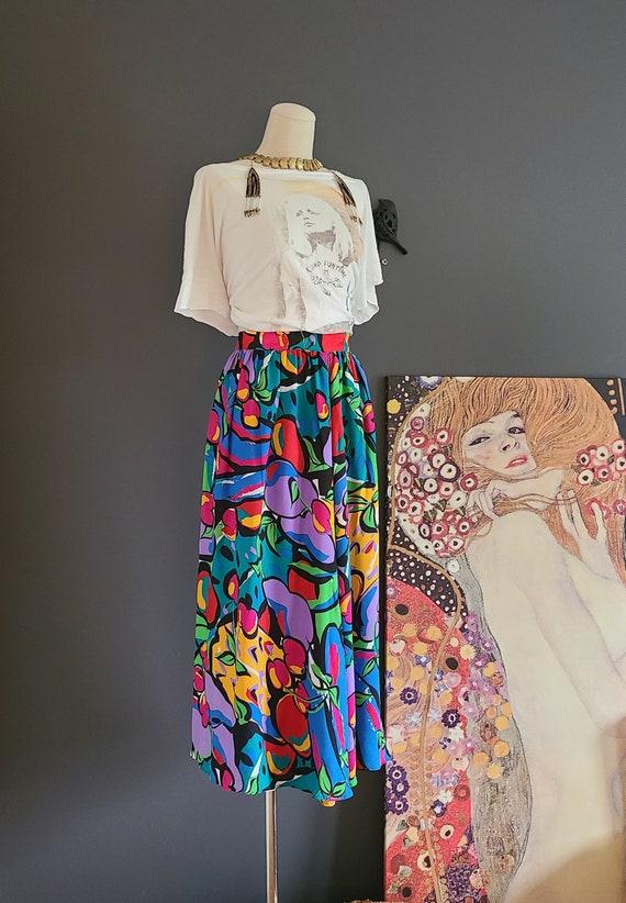 80's Flora Kung Silk Midi Skirt