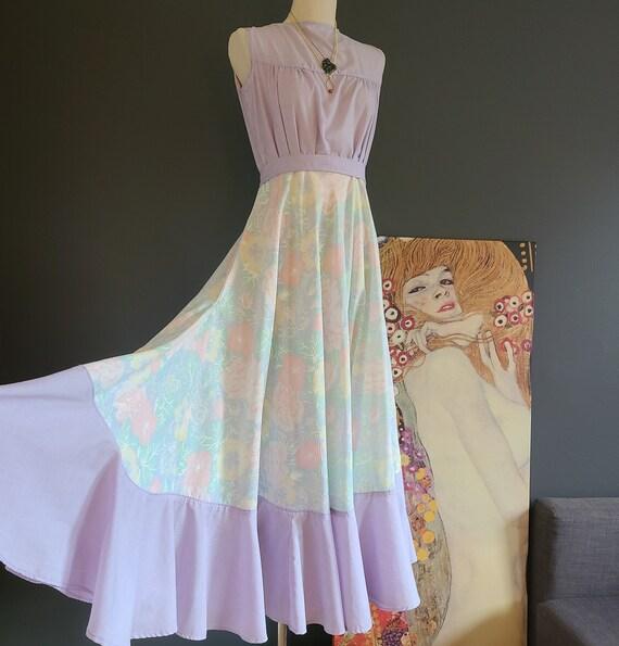 70's Handmade Lilac Prairie Dress