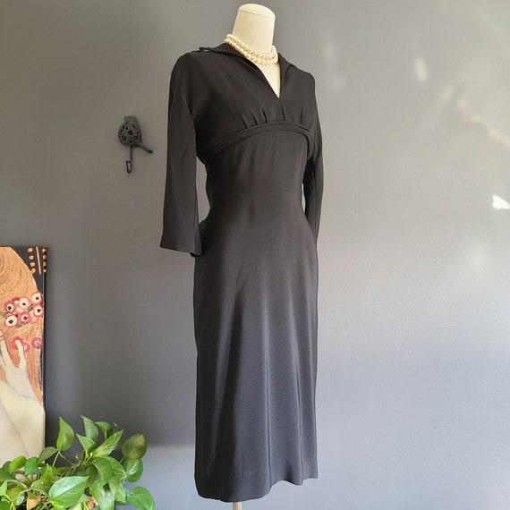 40's Rayon Little Black Dress - image 1