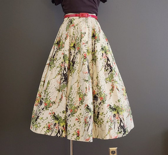50's Atomic Floral Cotton Circle Skirt