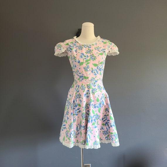30's Cotton Ruffle Trim Day Dress