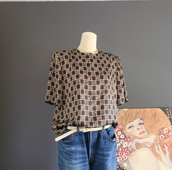 80's Sasson Shimmering Check Silky Polyester Top