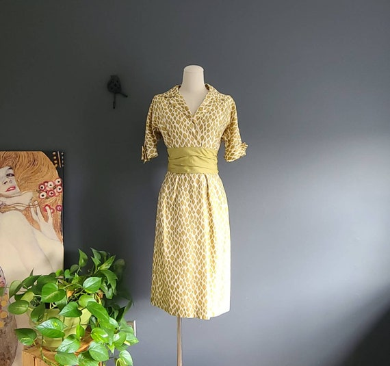 50's Silk Chartreuse Wiggle Dress