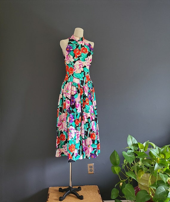 80's Patty O'Neil Floral Cotton Dress