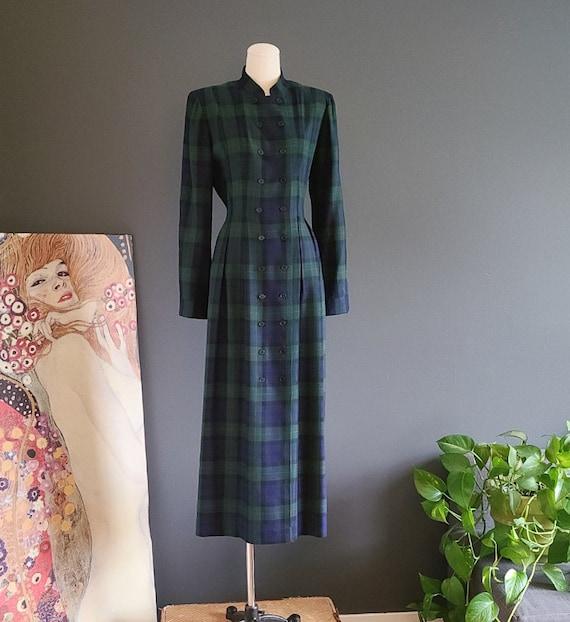 90's Tartan Plaid Coat Dress