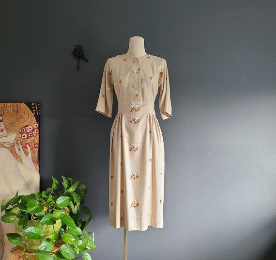 40's Linen Day Dress