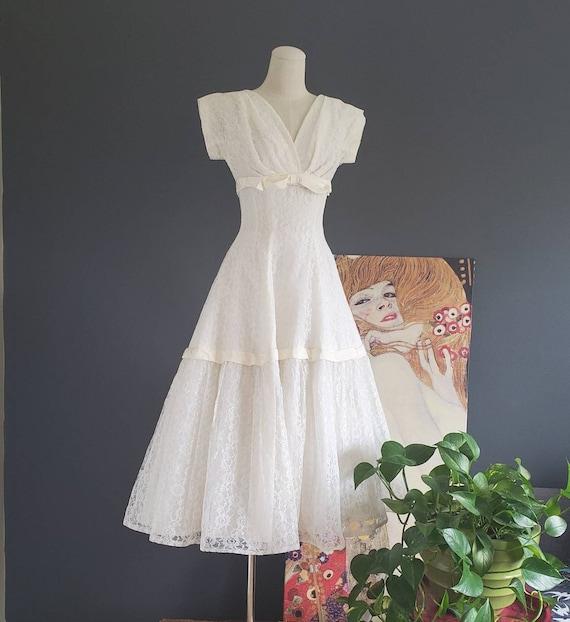 50's Emma Domb Ivory Lace Dress