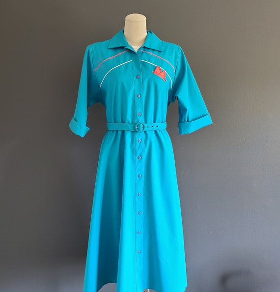80's 50's style Button Front Shirtdress