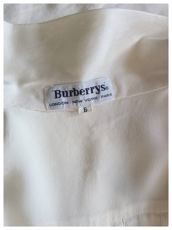 80's Burberrys Ivory Silk Pleated Blouse - image 7