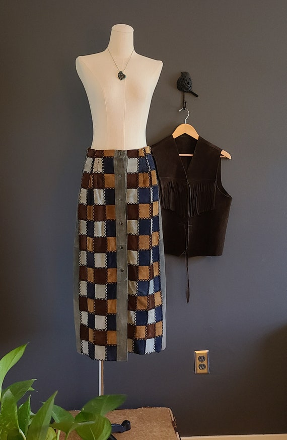 70's Suede Patchwork Skirt and Vest