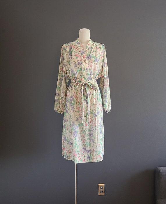 70's Leslie Fay Watercolor Floral Dress