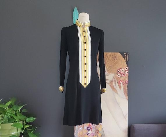 60's Mandarin Collar A-line Mod Mini Dress