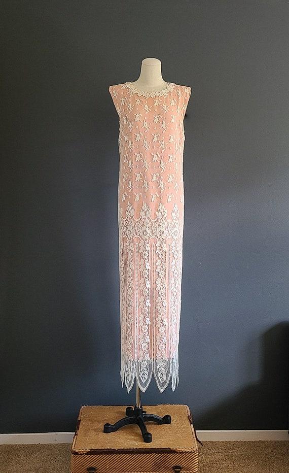 80's Jessica McClintock Lace Overlay Dress