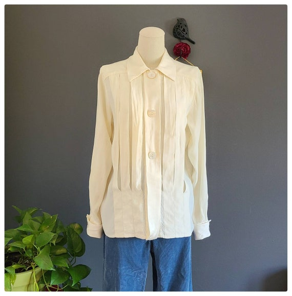 80's Burberrys Ivory Silk Pleated Blouse - image 1