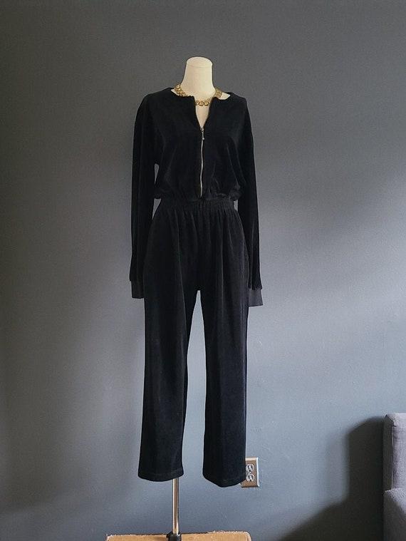 90's Lizsport Black Velour Jumpsuit