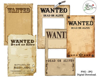 Western Wanted poster, Wild West cowboy printable digital paper, old paper texture scrapbooking, instant download, A4