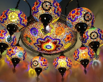 Set of 9+1 - Turkish Mosaic Chandelier Lamp - Turkish Lamp -Colored Lamp -Free Shipping - Best Decoration Lamp -Cargo with wooden crateLamps