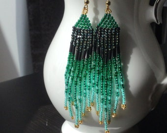 Peacock seed beads on gold filled Iridescent glass seed bead earrings 14K gold filled