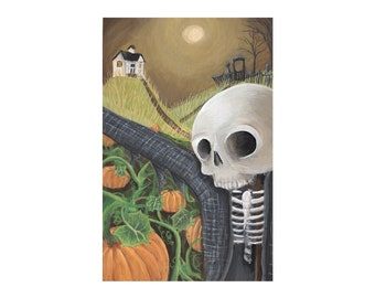 "Haunted Farm Print - ""Sentinel"" - Pumpkin Patch Skeleton Scarecrow"
