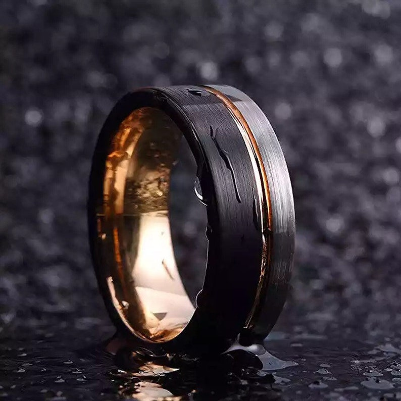 Mens Wedding Band Mens Wedding Ring Mens Tungsten Black and Rose Gold Colored Ring Men Gold Line Ring