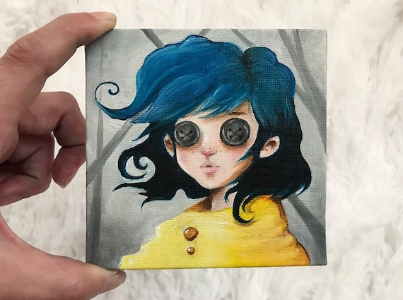 Coraline Button Eyes Mini 4x4 Oil Painting With Easel Etsy