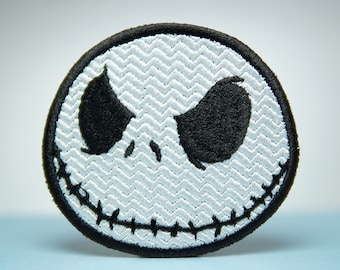 Jack Skellington Embroidery Patch - Iron On, Sew On