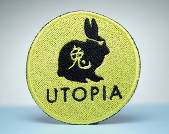 Utopia Rabbit Embroidery Patch - Iron On, Sew On