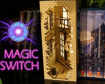 Wizard Alley Book Nook with Magnetic Switch Bookshelf Insert