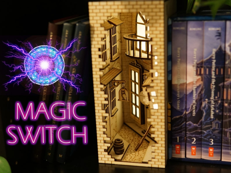 Wizard Alley Book Nook with Magnetic Switch Bookshelf Insert image 1