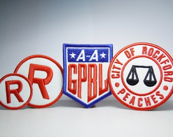 Rockford Peaches A League of Their Own Complete Pack - Embroidery Patches - Iron On, Sew On