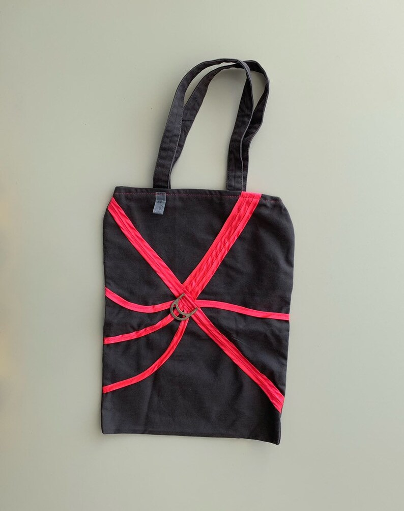 Tote bag grey anthracite and neon pink