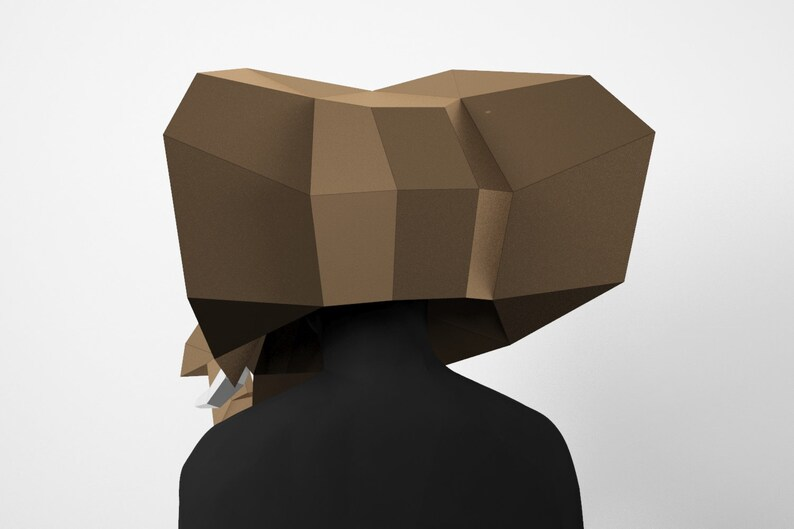 Pdf Template 3D Mask Elephant Mask DIY Low Poly Mask Paper Craft Mask