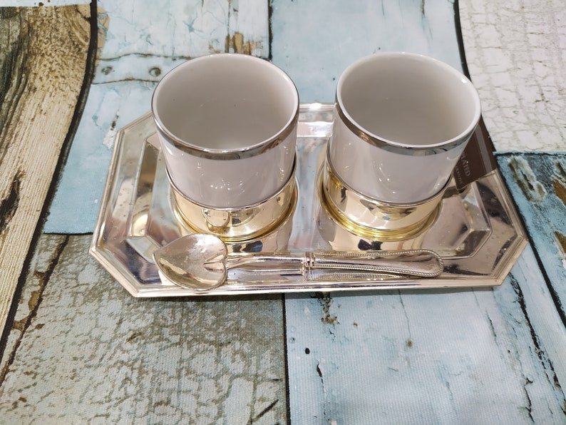 Italian espresso  for two Coffee set  Two coffee cups with silver plated base Set for two with tray and  spoon  Vintage coffee set