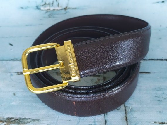 Guy Laroche Paris -  Brown belt and gold buckle -