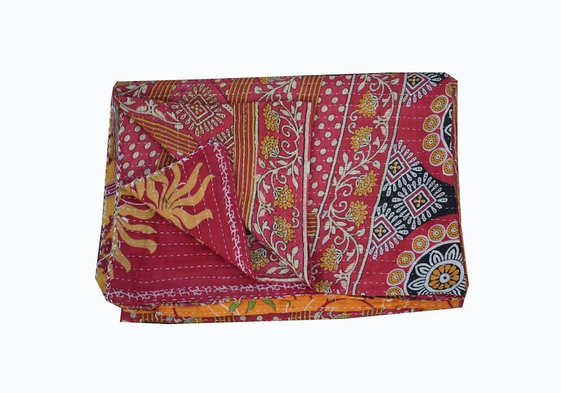 Hand-Stitched Reversible Patchwork Vintage Kantha Quilt Hand-Stitched Twin Kantha Throw Floral Recycled Old Sari Cotton Blanket SC48