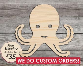 7cm Wood Octopus Craft Blanks Embellishments Decoration Gift Decoupage MG000916 Wooden Octopus Shape