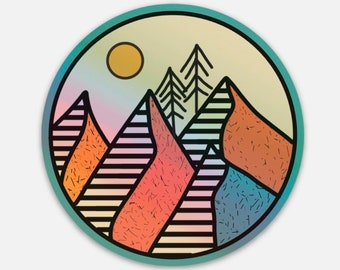 Cold Mountain Device Decal Art Sticker Holographic Mountain Sticker