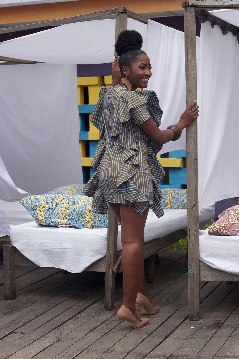 Menasan African Short Dress  African Print Dress  Ankara Dress  Short Dress