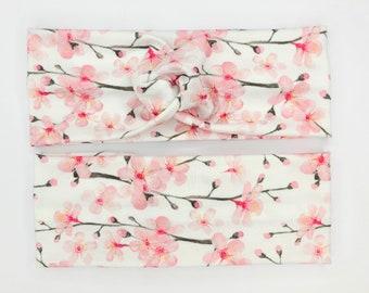 Dutch Floral Twisted Turban  Pink Floral  Dusty Aqua Green