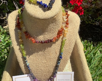 Healing Chakra gemstone set, Necklace, bracelet, earrings, and ring. Feel balanced.