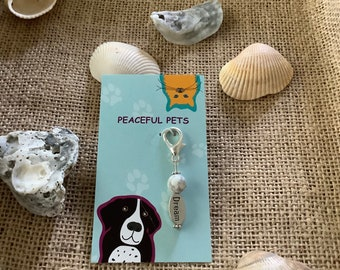 White Howliite peaceful pet healing gemstone pet collar charm. calming, eases stress and anxiety.