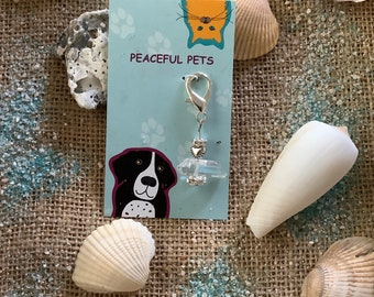Clear Quartz healing gemstone pet collar charm. Clear Quartz is known as the master healer, helps with energy, and immune system.   em.