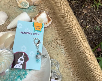 White Howlite healing gemstone pet collar charm with mermaid. White Howlite is known for its calming effect, along with easing stress.