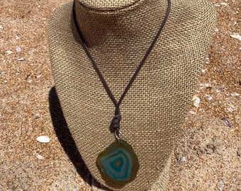 Beautiful Natural Agate Slab Necklace