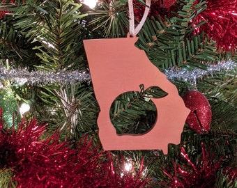 Heart Georgia Christmas Ornament GA State Shape Ornament with Christmas Heart Cutout Georgia Ornament Design by Heart State Shop