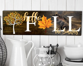 Personalized Hello Fall Sign, Autumn Wall Decor, Fall Wall Sign, Fall Home Decor