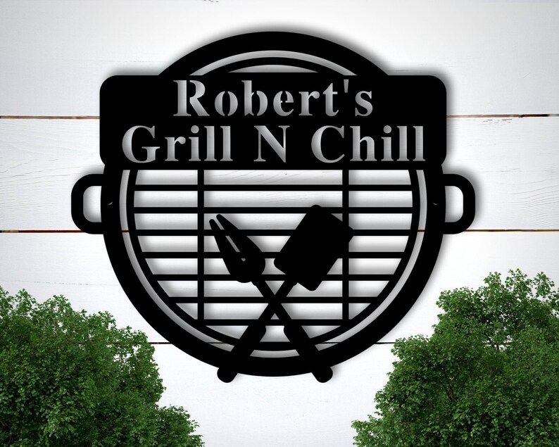 Personalized Metal BBQ Sign Personalized Grill Sign image 0