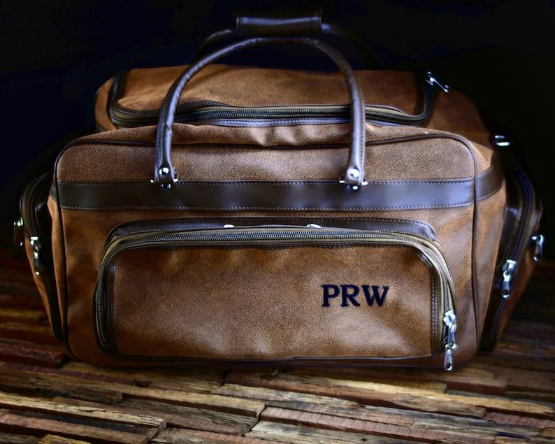 Leather Duffle Bag Men Personalized Groomsmen Gift Bag image 0